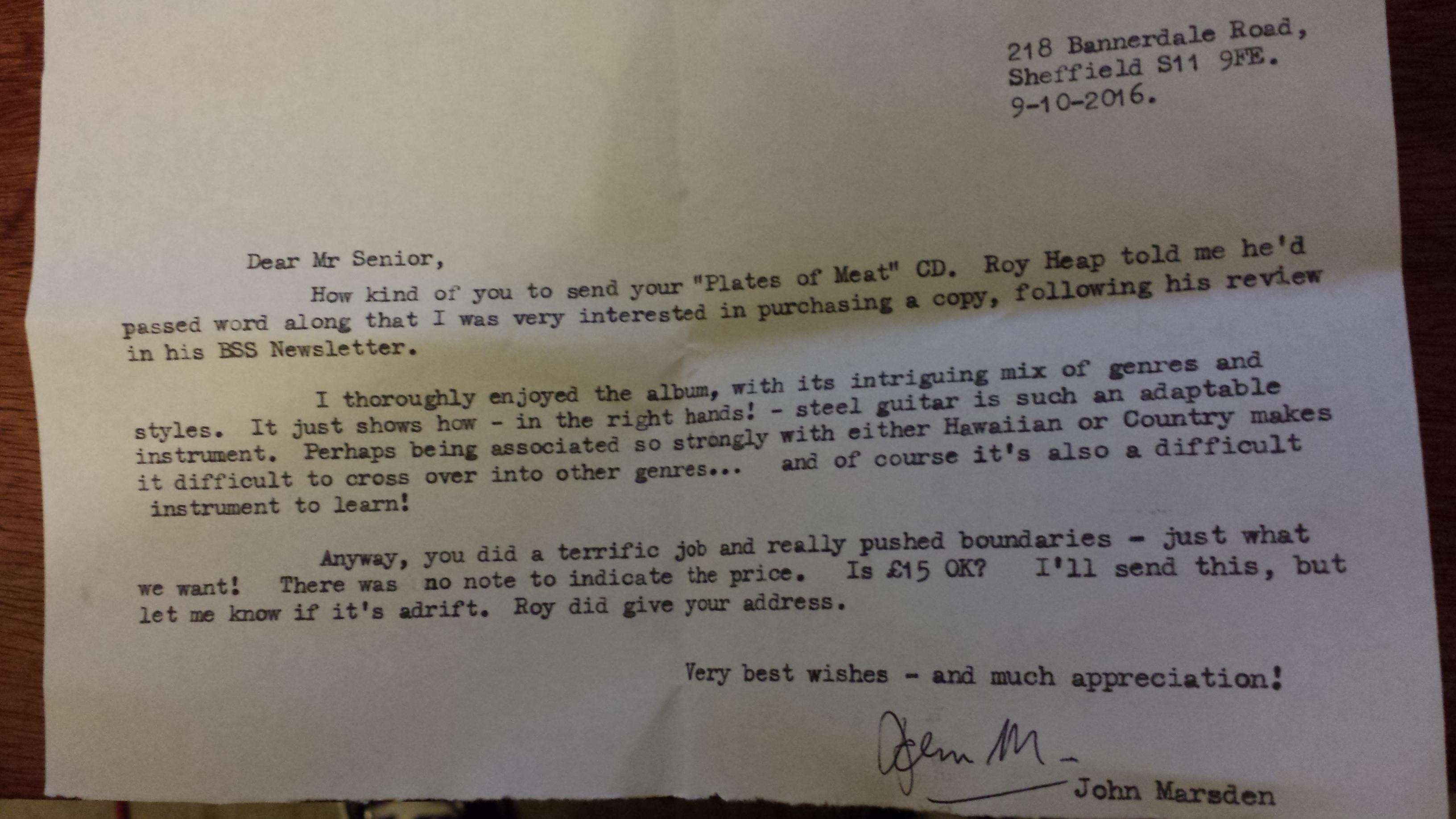 John Marsden's Response to Plates of Meat
